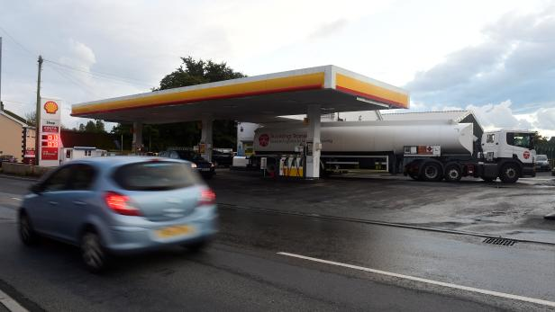 A fuel tanker is seen at a petrol and diesel filling station, Begelly, Pembrokeshire, Wales,