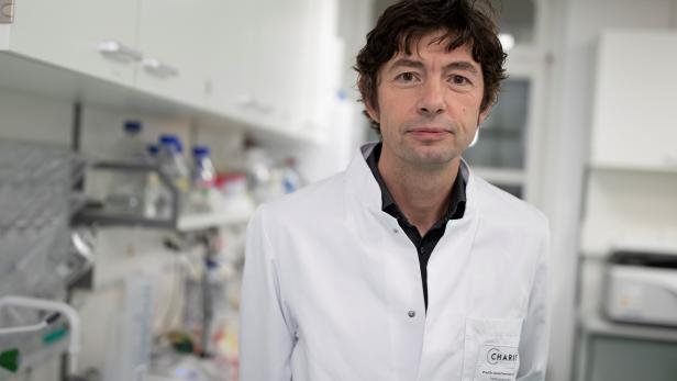 Christian Drosten, the director of the virology department, is seen at the Charite hospital in Berlin