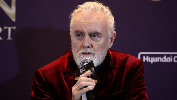Roger Taylor of Queen attends a news conference ahead of the Rhapsody Tour at Conrad Hotel in Seoul, South Korea