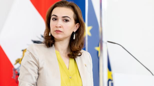 Austrian Justice Minister Alma Zadic attends a news conference in Vienna