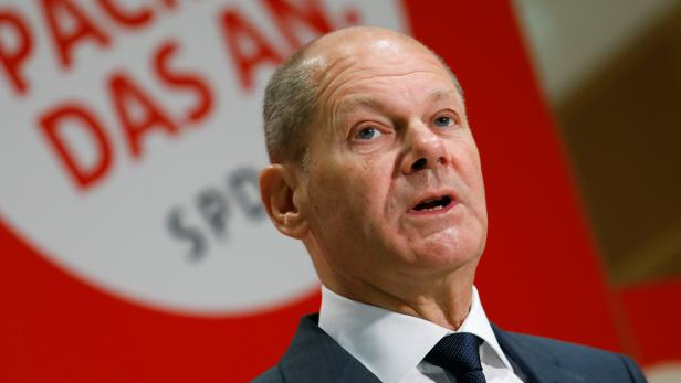 SPD top candidate for chancellor Scholz gives a statement in Berlin