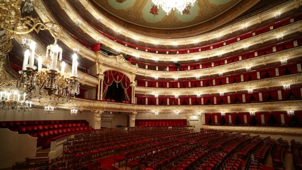 FILE PHOTO: A view shows the empty hall of the Bolshoi Theatre, prior to the launch of its project to stream iconic performances online, in Moscow