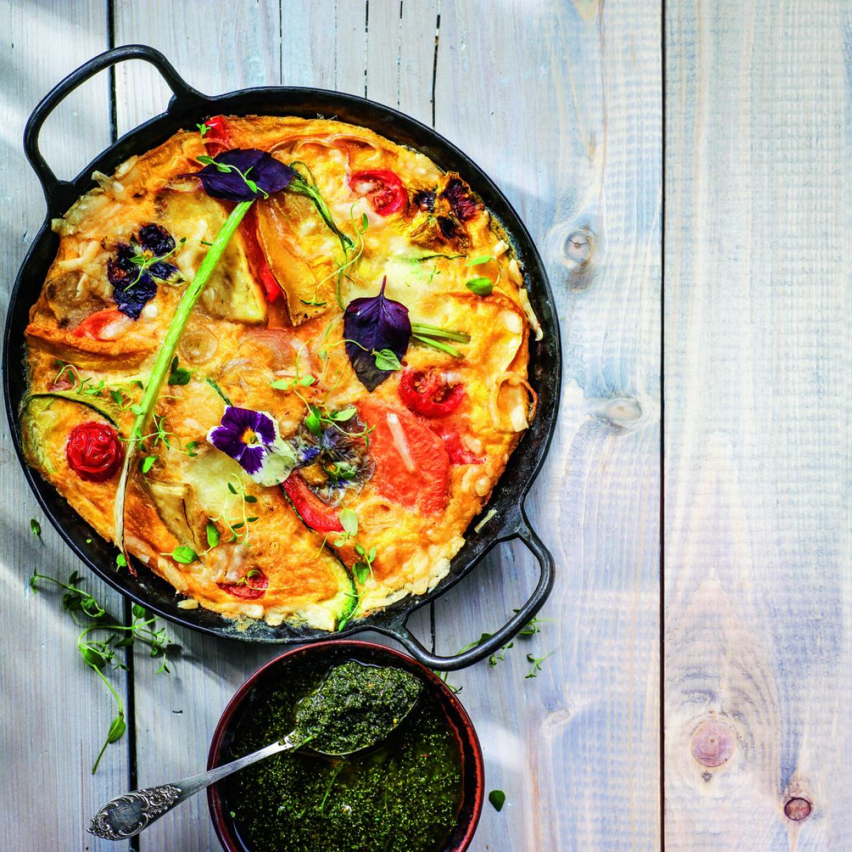 Rezept: Tortilla mit Gemüse und Blüten