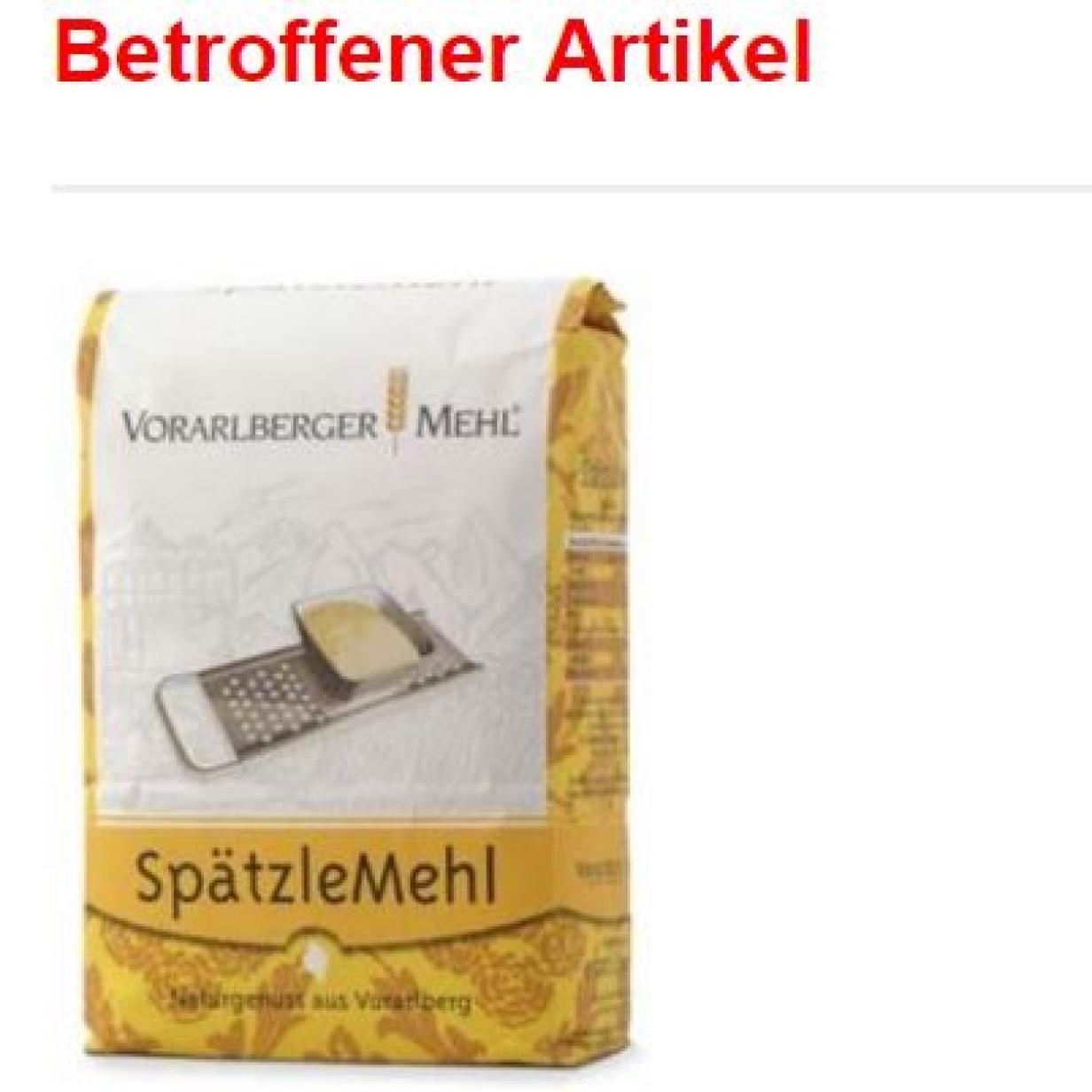 """Rückruf: Hersteller ruft """"Vorarlberger Mehl – Spätzlemehl"""" zurück"""