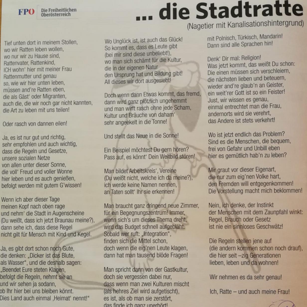 Ratten Gedicht Fpö Provoziert Mit Rechtem 2019 10 26