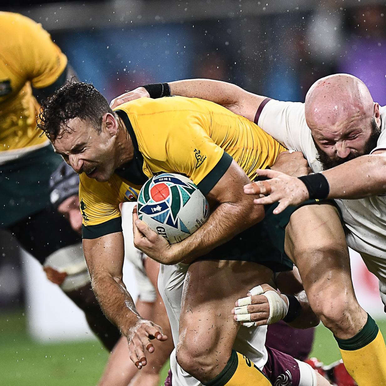 Rugby-WM, Tag 23: Australien siegt im strömenden Regen
