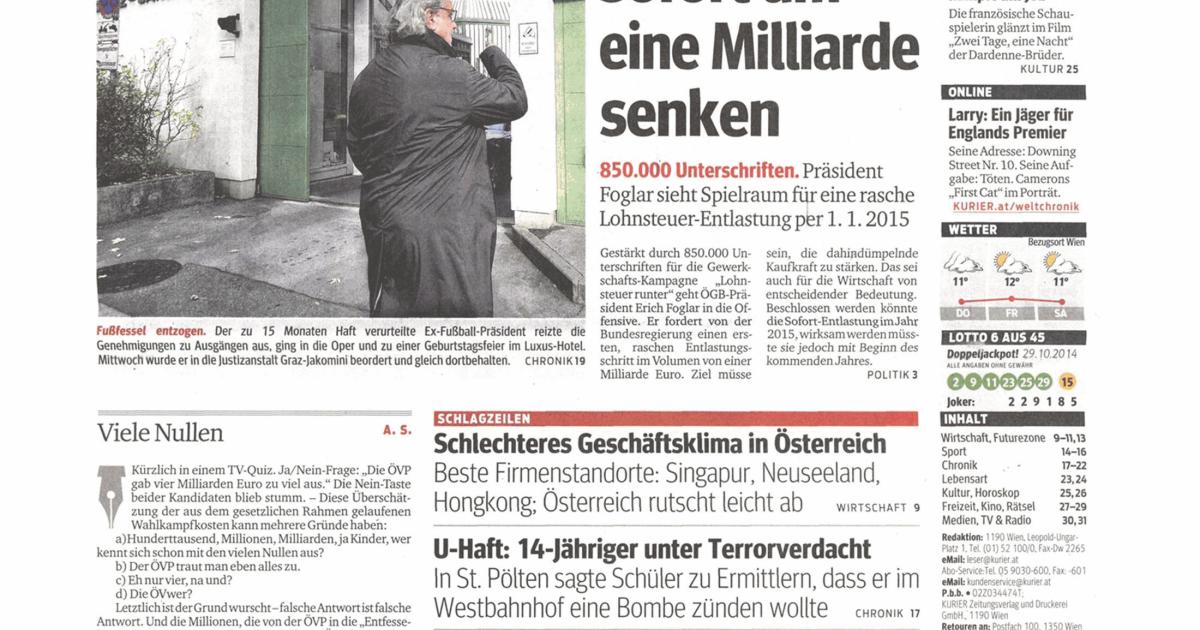 Titelseiten Vom 30 10 2014 Kurier At