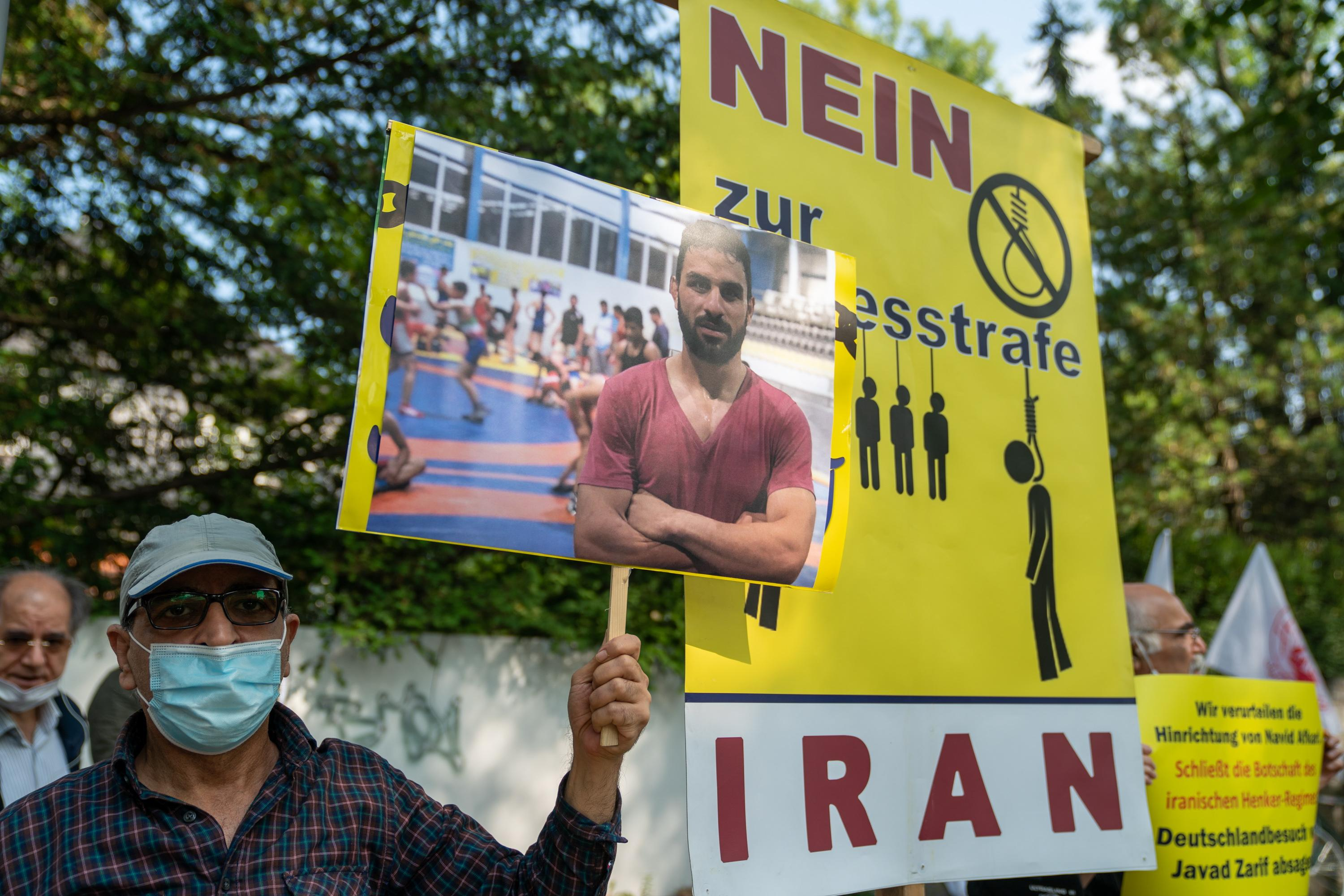 Protest in Berlin against execution of Iranian wrestler Navid Afkari