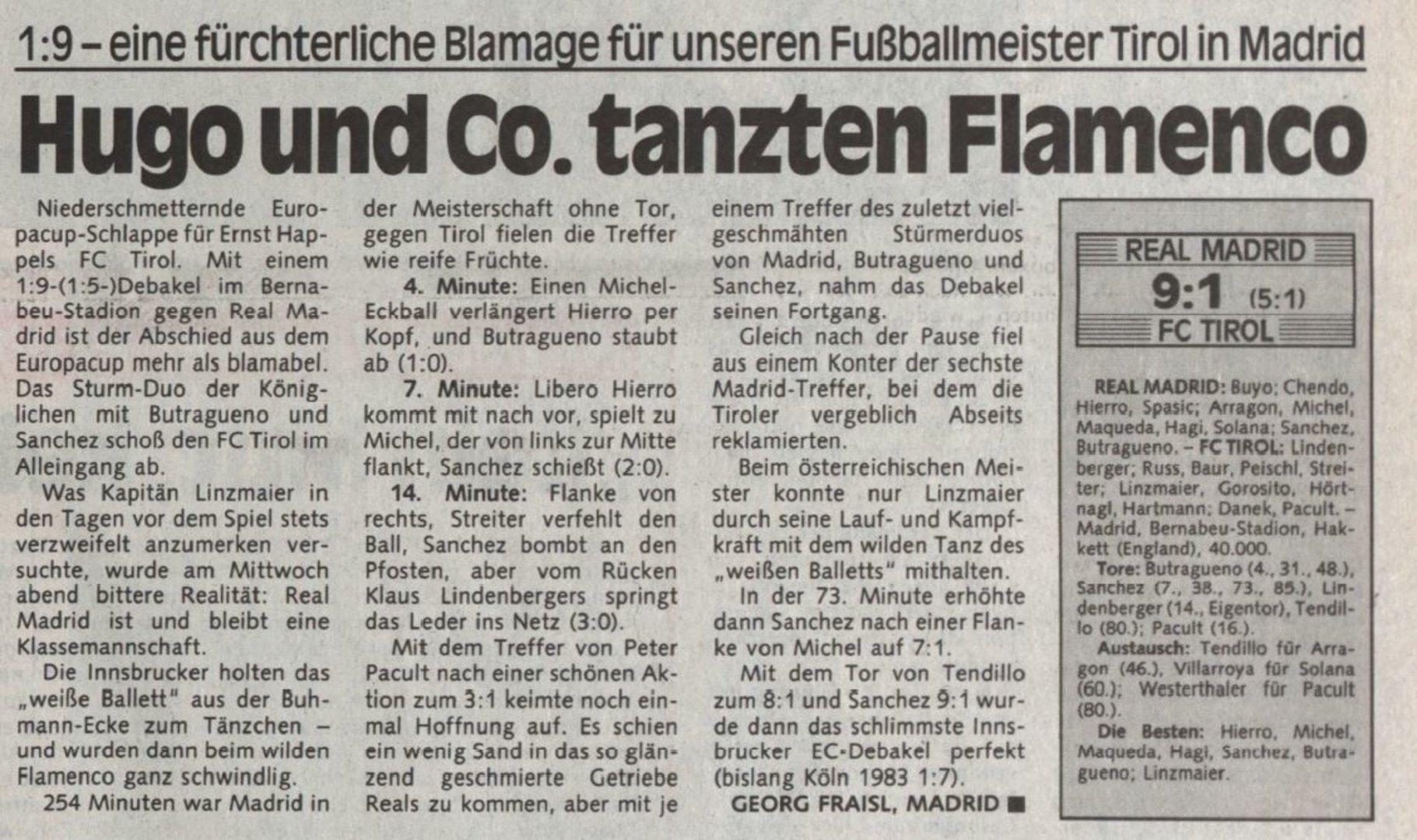 Heute vor 30 Jahren: Als der FC Tirol gegen Real Madrid 1:9 unterging