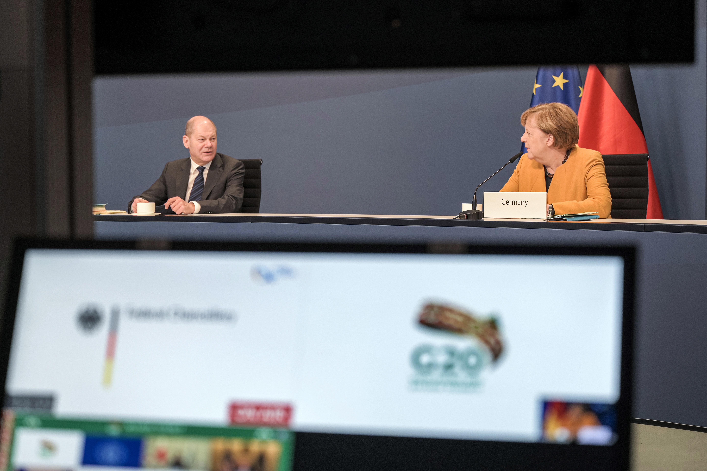 German Chancellor Merkel takes part in a virtual G20 summit