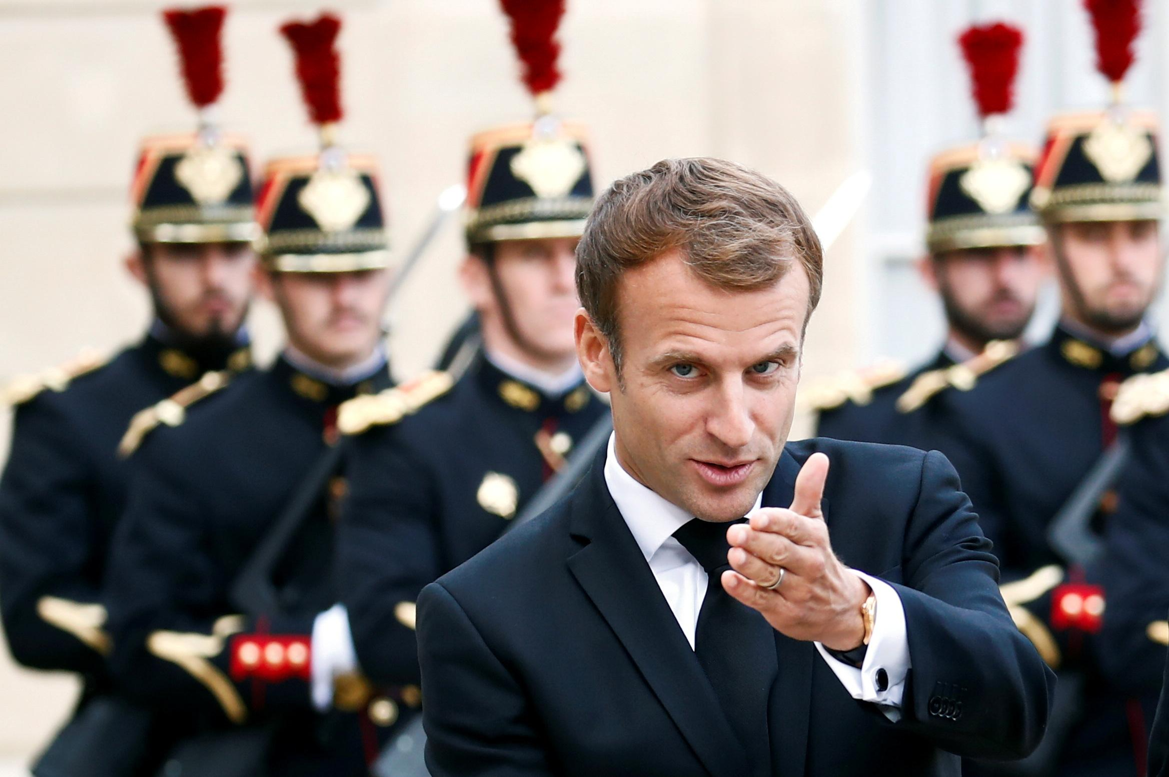 French President Macron meets Tajik President Rahmon in Paris